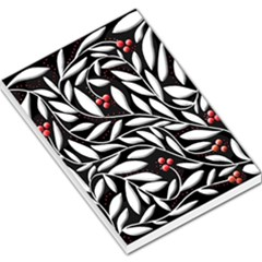 Black, red, and white floral pattern Large Memo Pads