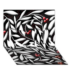 Black, red, and white floral pattern I Love You 3D Greeting Card (7x5)