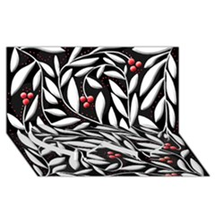 Black, red, and white floral pattern Twin Heart Bottom 3D Greeting Card (8x4)