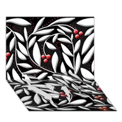 Black, red, and white floral pattern LOVE Bottom 3D Greeting Card (7x5)