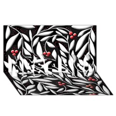 Black, red, and white floral pattern BEST BRO 3D Greeting Card (8x4)