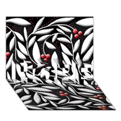 Black, red, and white floral pattern HOPE 3D Greeting Card (7x5)