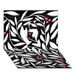 Black, red, and white floral pattern Ribbon 3D Greeting Card (7x5)