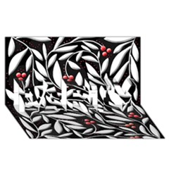 Black, red, and white floral pattern PARTY 3D Greeting Card (8x4)