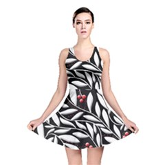 Black, red, and white floral pattern Reversible Skater Dress