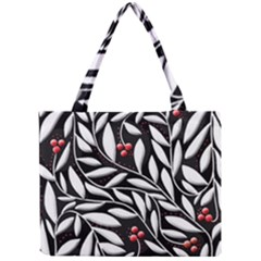 Black, red, and white floral pattern Mini Tote Bag