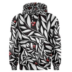 Black, red, and white floral pattern Men s Pullover Hoodie
