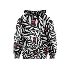 Black, red, and white floral pattern Kids  Pullover Hoodie