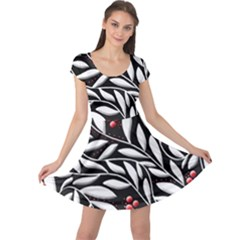Black, red, and white floral pattern Cap Sleeve Dresses