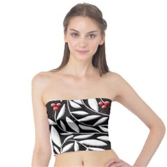 Black, red, and white floral pattern Tube Top