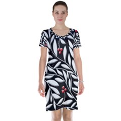 Black, red, and white floral pattern Short Sleeve Nightdress