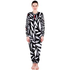 Black, red, and white floral pattern OnePiece Jumpsuit (Ladies)