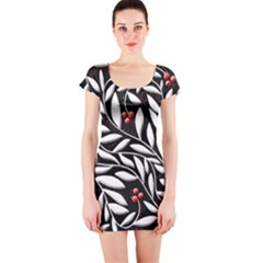 Black, red, and white floral pattern Short Sleeve Bodycon Dress