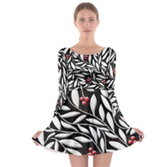 Black, red, and white floral pattern Long Sleeve Skater Dress