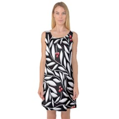Black, red, and white floral pattern Sleeveless Satin Nightdress