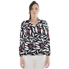 Black, red, and white floral pattern Wind Breaker (Women)