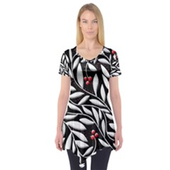Black, Red, And White Floral Pattern Short Sleeve Tunic