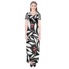 Black, red, and white floral pattern Short Sleeve Maxi Dress