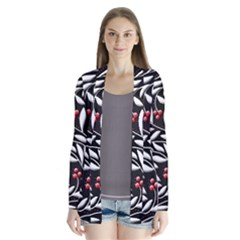 Black, Red, And White Floral Pattern Drape Collar Cardigan