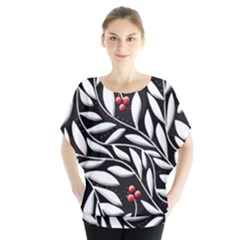 Black, Red, And White Floral Pattern Blouse