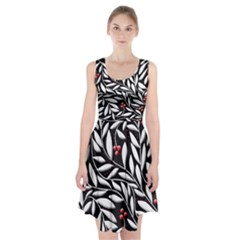 Black, red, and white floral pattern Racerback Midi Dress