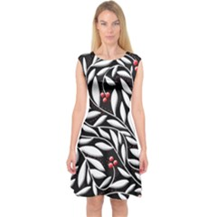 Black, Red, And White Floral Pattern Capsleeve Midi Dress