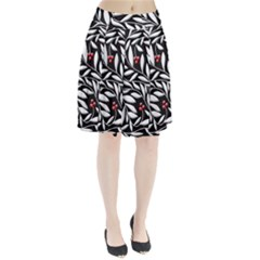 Black, red, and white floral pattern Pleated Skirt