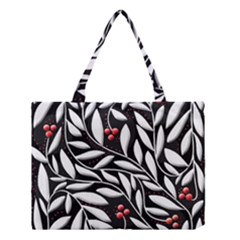 Black, red, and white floral pattern Medium Tote Bag