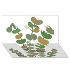 Green decorative plant Twin Hearts 3D Greeting Card (8x4)