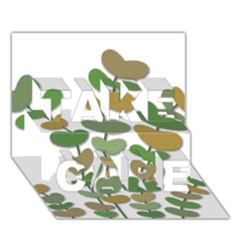 Green decorative plant TAKE CARE 3D Greeting Card (7x5)