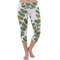 Green Decorative Plant Capri Yoga Leggings