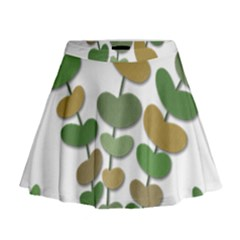 Green Decorative Plant Mini Flare Skirt