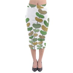 Green Decorative Plant Midi Pencil Skirt