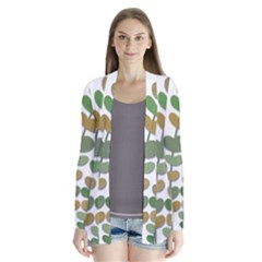 Green decorative plant Drape Collar Cardigan