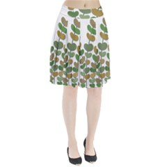 Green decorative plant Pleated Skirt