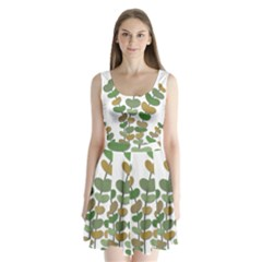 Green Decorative Plant Split Back Mini Dress