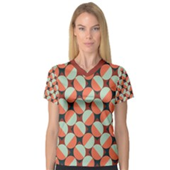 Modernist Geometric Tiles Women s V Neck Sport Mesh Tee