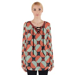 Modernist Geometric Tiles Women s Tie Up Tee