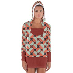 Modernist Geometric Tiles Women s Long Sleeve Hooded T Shirt