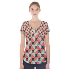 Modernist Geometric Tiles Short Sleeve Front Detail Top