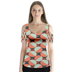 Modernist Geometric Tiles Butterfly Sleeve Cutout Tee