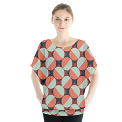 Modernist Geometric Tiles Batwing Chiffon Blouse