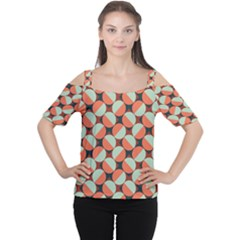 Modernist Geometric Tiles Women s Cutout Shoulder Tee