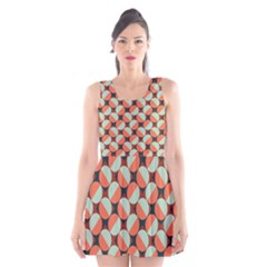 Modernist Geometric Tiles Scoop Neck Skater Dress