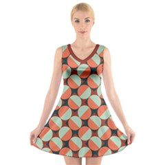 Modernist Geometric Tiles V Neck Sleeveless Dress