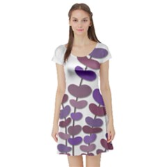 Purple decorative plant Short Sleeve Skater Dress
