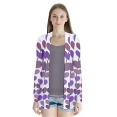 Purple decorative plant Drape Collar Cardigan