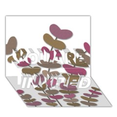 Magenta decorative plant YOU ARE INVITED 3D Greeting Card (7x5)