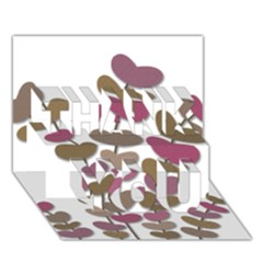 Magenta decorative plant THANK YOU 3D Greeting Card (7x5)