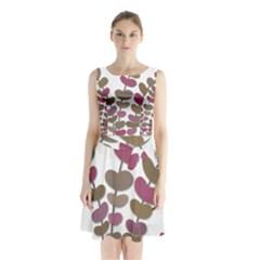 Magenta decorative plant Sleeveless Chiffon Waist Tie Dress